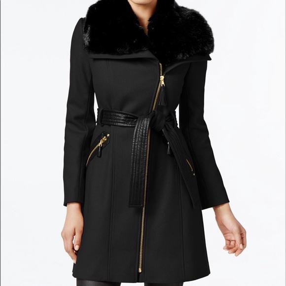 Via Spiga Jackets & Blazers - Winter Coat - Via Spiga Black with Faux Fur